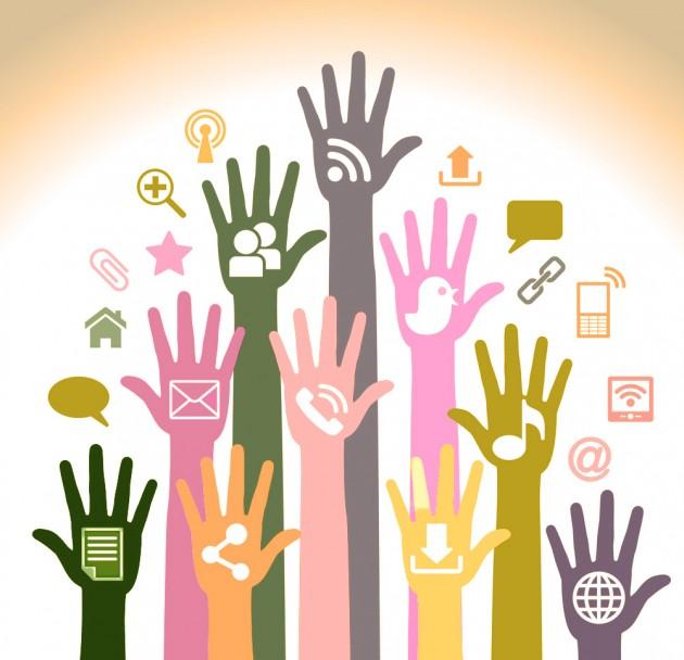 Hands showing online sites